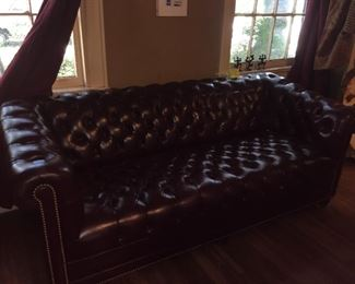 Great Chesterfield Late Mid-Century Leather Sofa.