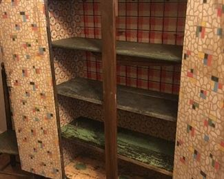 Primitive Cupboard w/Funky Interior!