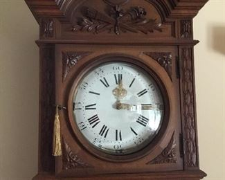 Rare Louis XI style tall clock with glass case