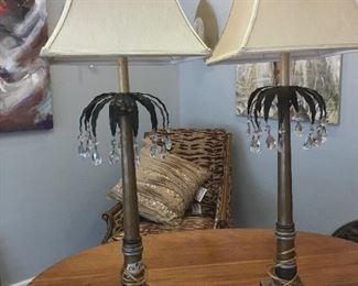 "Pair of John Richard table lamps, 36"""