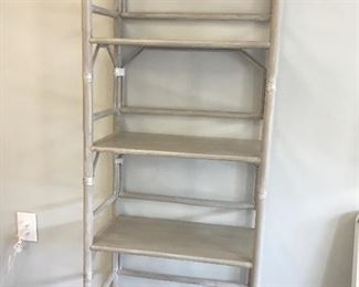 """etagere gray faux bamboo, 24""""W x 12""""D x 69""""T"""