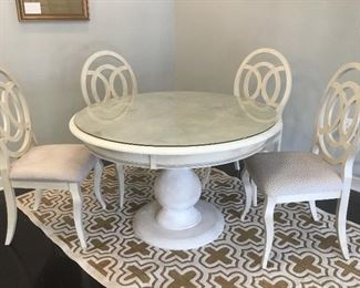 """Lane table and four chairs, 48"""" round x 30""""T"""