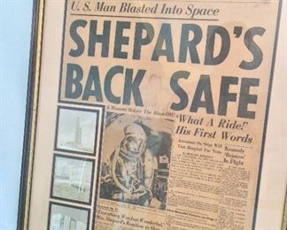 "Framed ""Shepard's Back Safe"", The Capital Times Newspaper, Madison Wisconsin, May 5, 1961. 21"" x 28 1/2""."