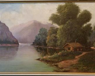Original Oil Painting Cabin