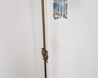 Brass floor lamp with glass bead shade (2)