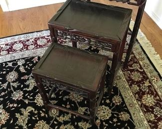 Antique rosewood nesting tables.