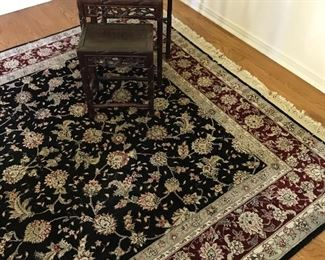 Antique rosewood stacking tables.  Wool 5x8 carpet.  Excellent condition.