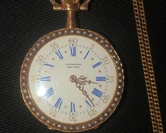 Tiffany & Co Ladies watch, 18k rose gold, seed pearls and enamel case, gold chain.  Ca. 1890