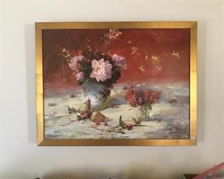 Li Wang.  This beautiful oil painting is from my mother's estate.    This painting was purchased from The Greater Pensacola Art Festival.  Mr. Wang's art is very collectable  and loved.