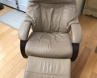 Jhorde ALL leather recliner and ottoman