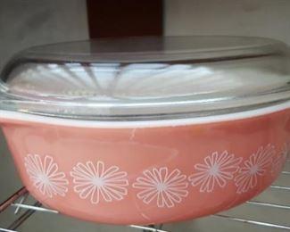 "Pyrex ""pink daisy"" casserole dish"