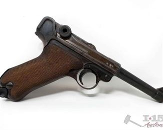 """200:  Mauser Luger 9mm Semi-Auto Pistol, CA Transfer Available Serial Number: 4384 Barrel Length: 3.75""""  California Transfer Available. CA transfer can only be done at the Bid Fast and Last office in Hesperia, Ca. NO CA SHIPPING!! $25 out of state shipping for a single handgun purchase with out insurance. Insurance cost varies by purchase amount. Shipping cost for multiple handguns or with rifles wil also vary.  To our California buyers, this handgun falls under Private Party Transfer(PPT). You can purchase multiple PPT handguns at the same without the 1 per 30 day restriction."""