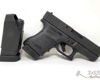 """210: Glock 30 45mm Semi Auto Pistol 2 Mags, CA Transfer Available Serial Number: DGE305 Barrel Length: 3.78""""  California Transfer Available. CA transfer can only be done at the Bid Fast and Last office in Hesperia, Ca. NO CA SHIPPING!! $25 out of state shipping for a single handgun purchase with out insurance. Insurance cost varies by purchase amount. Shipping cost for multiple handguns or with rifles wil also vary.  To our California buyers, this handgun falls under Private Party Transfer(PPT). You can purchase multiple PPT handguns at the same without the 1 per 30 day restriction."""