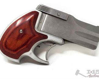 """220:  American Derringer DA9, 9mm Pistol, CA Transfer Available Serial Number: 010998 Barrel Length: 3"""" California Transfer Available. CA transfer can only be done at the Bid Fast and Last office in Hesperia, Ca. NO CA SHIPPING!! $25 out of state shipping for a single handgun purchase with out insurance. Insurance cost varies by purchase amount. Shipping cost for multiple handguns or with rifles wil also vary. To our California buyers, this handgun falls under Private Party Transfer(PPT). You can purchase multiple PPT handguns at the same without the 1 per 30 day restriction."""