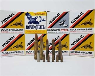 400: Approx. 200 rds. Of 2 3/4in. 20 Gauge Shotshells Six Boxes of Federal Duck & Pheasant shotshells, one box of Federal Hi-Power Steel shotshells, One box of winchester Dove & Quail Shotshells and eleven Loose rounds