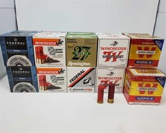 """402: Approx. 526 rds. Of 12 Gauge ShotShells Four boxes Federal Steel 3"""" Shells, three boxes Winchester Super Steel 3"""" Shells, three boxes Federal Magnum Steel 3"""" Shells, two boxes Remington 27 Nitro 2 3/4"""" Premier Handicap Shells, three boxes Winchester Super-Target 2 3/4"""" shells, six boxes Winchester Super-Speed Mark 5 2 3/4"""" shells"""