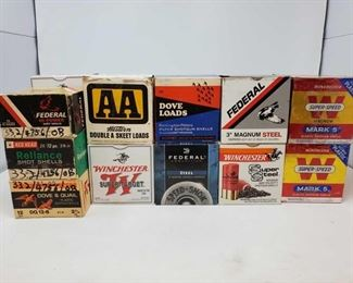 """406: nApprox. 450rds of 12Ga. ShotShells and Four boxes of apparent Reloaded 12Ga. ShotShells Seven Boxes Winchester Super-Speed Magnum Mark 5 2 3/4"""" Shotshells, Two boxes Federal Steel 3"""" shotshells, five boxes Winchester Super-Target 2 3/4"""" shotshells, one box federal 3"""" Magnum Steel Shells, one box winchester super steel 3"""" shells, four boxes of apparent reloaded 12 gauge shells"""