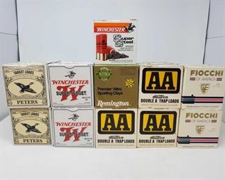 "408: Approx. 425rds. Of 12Ga. ShotShells Seven boxes Western Double A 2 3/4"" Shells, four boxes Peters 2 3/4"" shells, Four boxes winchester Super-Target 2 3/4"" shells, four boxes Fiocchi 3"" Shells, one box Winchester Super Steel 3"" shells, one box Remington Premier Nitro Sporting Clays 2 3/4"" shells"