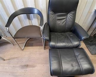 7026: Leather Reclining Seat w/ Leg Rest and Metal and Cloth Chair w/ Arm rests Leather Reclining Seat w/ Leg Rest and Metal and Cloth Chair w/ Arm rests