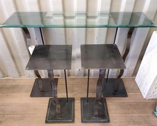 7028: Decorative Metal Pillars, Two Large and Two Small with Large Glass top Decorative Metal Pillars, Two Large and Two Small with Large Glass top