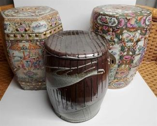 7500:  Three Decor Barrels with Intricate Details Three Decor Barrels with Intricate Details