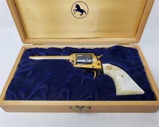 """202: Colt Single Action Frontier Scout .22LR Revolver, CA Transfer Available Serial Number: 3851NEB Barrel Length: 4.75""""  Nebraska Centennial  California Transfer Available. CA transfer can only be done at the Bid Fast and Last office in Hesperia, Ca. NO CA SHIPPING!! $25 out of state shipping for a single handgun purchase with out insurance. Insurance cost varies by purchase amount. Shipping cost for multiple handguns or with rifles wil also vary."""