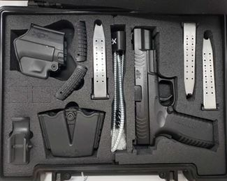 """254: Springfield XDM-9 Semi-Auto 9mm Pistol with Case and Accessories Serial Number: MG733085 Barrel Length: 5""""  Includes case, 3 19rd magazines, gun/magazine holsters, lock, and more  No CA Transfer. Out of state shipping available to your local FFL. Buyer is responsible for checking local laws before bidding. $25 shipping for a single handgun purchase with out insurance. Insurance cost varies by purchase amount. Shipping cost for multiple handguns or with rifles wil also vary."""