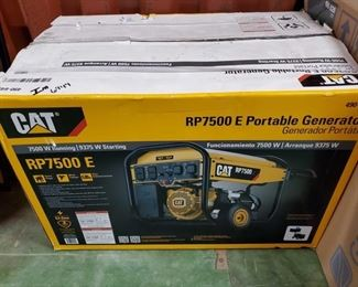 6949: NEW IN BOX CAT RP7500 E Portable Generator Here's a CAT RP7500 E Portable Generator, #490-6491. Features 7500 running watts/9375 starting watts providing up to 11 hours of power to 6 outlets, including 120v and 240v 30a twist-lock receptacles. Electric start, LED control panel, padded double hinged handle and solid rubber wheels. NIIIICE unit.