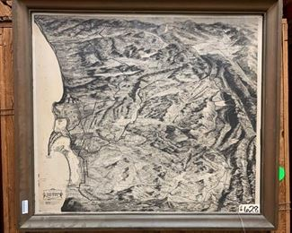"""6902: Framed Areoview of San Diego County Wow - what stunning detail! Hand-drawn and illustrated by F.E. Knight, this is an aeroview of San Diego County in a rustic flat-rimmed brown painted wooden frame. Measures approx 47"""" x 52"""""""