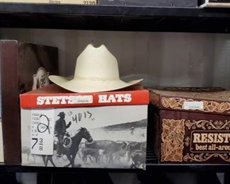 7300: Four Cowboy Hats, Sizes M, 7 3/8, and 7 1/2 Cowboy hats! VERY nice looking hats including a Stetson Norteano in natural, size 7-3/8th; a handsome long oval natural weave Chapparel by Resistol, size 7¼; a Stetson Cuerda in black, size 7.5; and an Australian Legend Akubra The Swagman style silver belly size Medium.