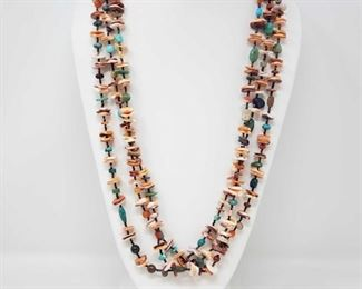 """157: Colorful 3 Strand Sterling Silver Native American Spiny Oyster, Turquoise and Heishi Necklace Colorful 3 Strand Sterling Silver Native American Spiny Oyster, Turquoise and Heishi Necklace Weighs approx 172.9g Measures approx 34"""" Low Estimate: 300.00 High Estimate: 400.00"""
