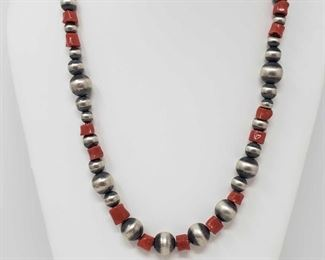 """158: Heavy Handmade Native American Sterling Silver Neckalce with Blood Red Coral Stones 62.2g Heavy Handmade Native American Sterling Silver Neckalce with Large Blood Red Coral Stones Weighs approx 62.2g Measures approx. 24.5"""" Low Estimate: 600.00 High Estimate: 750.00"""