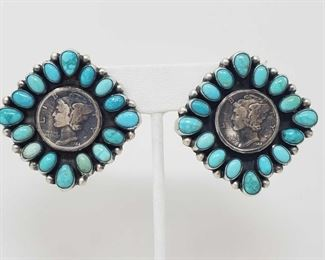 162: Artist Marked Amazing Pair of Sterling Silver and Turquoise Earrings with Authentic  Mercury Dimes These Beautiful Handmade Native American Earrings from the Famous Paul Livingston are made with Authentic Mercury Dimes in VG condition.. Complete with Turquoise Stones and set in Think Sterling Silver!!!  Weighs approx 29.4g Low Estimate: 500.00 High Estimate: 750.00