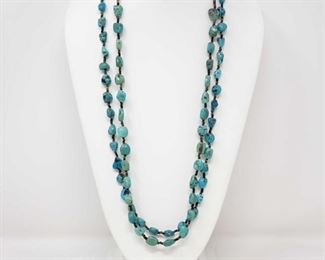 145: 2 Authentic Native American Heishi and Turquoise Nugget Necklaces with Sterling Silver Clasps 2 Authentic Native American Heishi and Turquoise Nugget Necklaces with Sterling Silver Clasps.. Wear Alone or Stack them up!!  Low Estimate: 100.00 High Estimate: 200.00