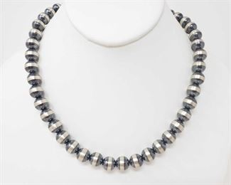 """170: Sterling Silver Native American Pawn Bead Necklace, 43.9g Sterling Silver Native American Pawn Bead Necklace Weighs approx 43.9g Measures approx 18.5"""""""