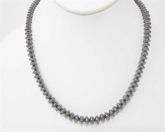 """172: Handmade Native American Sterling Silver Pawn Bead Necklace Handmade Native American Sterling Silver Pawn Bead Necklace Weighs approx 29.7g Measures approx 18.5"""""""