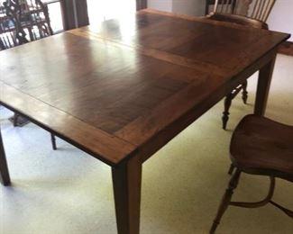 Beautiful custom made cherry breakfast room table,  has extra leaf,  4 Windsor chairs