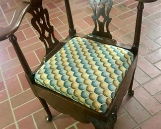 beautiful corner chair with needlepoint seat
