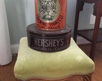 Tiger Chewing Tobacco tin, Hershey's Chocolate Cocoa Tin