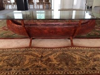 """Oh, What a Beauty!  Authentic """"Canoe"""" cocktail table with glass top.  Has two oars too."""