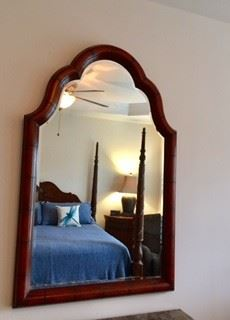 Beautiful Mirror co-ordinates with Century Marble Chest.  Leather Wrapped.  Beveled, too