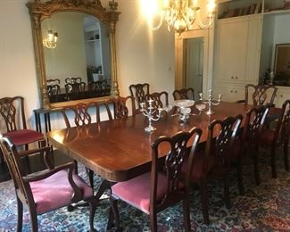 "beautiful antique double pedestal dining table, made in New Orleans, 52"" x 9' 7"" & 12 Chippendale style chairs"
