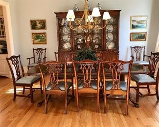 Dining Table with 10 Chippendale Style Chairs