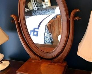 Vintage Shaving Mirror on Pedestal