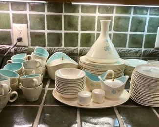 Vintage MidCentury White Dishes with Blue Flower