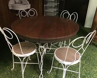 Rare vintage ice cream set with oak top table.