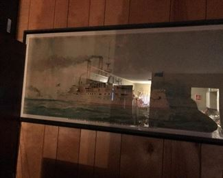 """Antique Lithograph of the """"Iowa"""""""