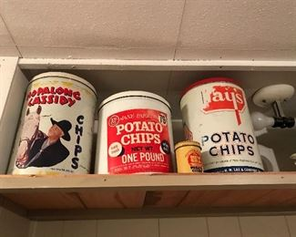 Antique potatoe Chip tins