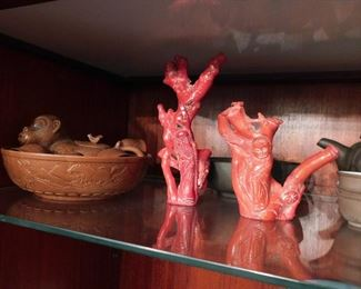 Red Coral Carved Figurines. Stunning and large size!