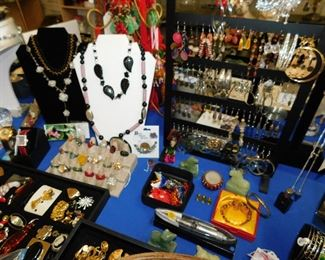 6 tables of vintage and costume jewelry. All the major makers are here.